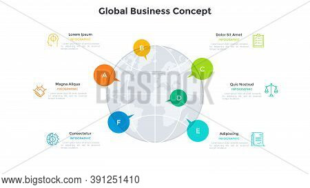 Globe And 6 Colorful Speech Balloons. Concept Of Six Features Of Multinational Company, Internationa