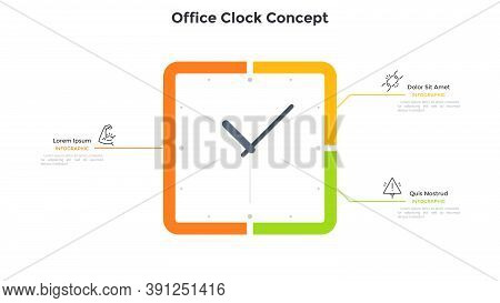 Square Clock Face And 3 Options. Concept Of Three Steps To Productivity And Effective Time Planning.