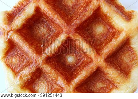 Closeup The Texture Of Delectable Belgian Liege Waffle