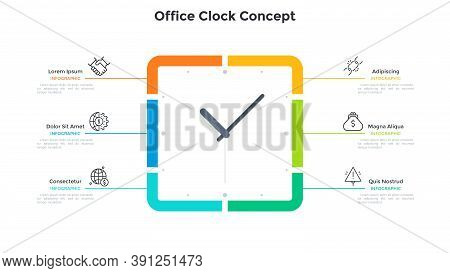 Square Clock Face And 6 Options. Concept Of Six Steps To Productivity And Effective Time Planning. S