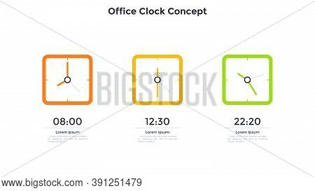 Three Square Clock Faces With Time Indication Placed Into Horizontal Row. Concept Of Three Stages Of