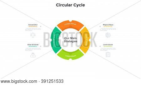 Ring-like Pie Diagram Divided Into 4 Colorful Parts. Concept Of Business Development Cycle With Four