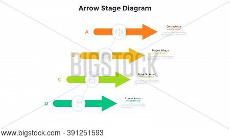 Four Colorful Arrows Or Pointers Connected By Diagonal Line. Concept Of 4 Stages Of Business Develop