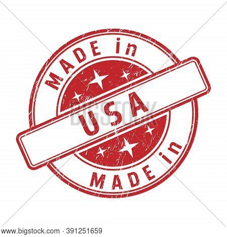 An Impression Of A Seal With The Inscription Made In Usa, Isolated On A White Background