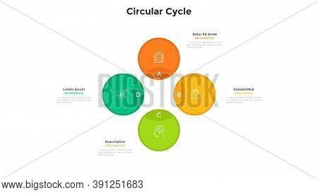 Cyclic Diagram Or Scheme With 4 Colorful Circular Elements. Concept Of Four Stages Of Business Cycle