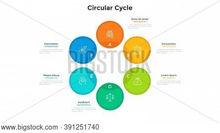 Cyclic Diagram Or Scheme With 6 Colorful Circular Elements. Concept Of Six Stages Of Business Cycle.
