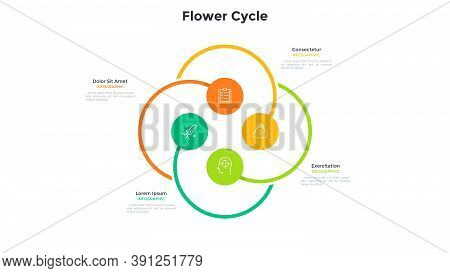 Flower Cyclic Chart With 4 Colorful Round Elements. Concept Of Four Options Of Startup Project. Mode