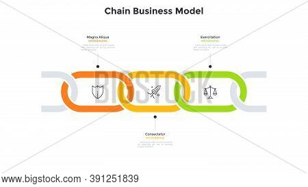 Business Model With 3 Connected Chain Links. Concept Of Three Successive Stages Of Startup Project D