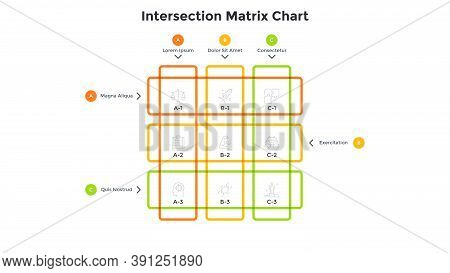 Matrix Diagram With Linear Intersected Elements, 9 Colorful Square Cells Arranged In Rows And Column