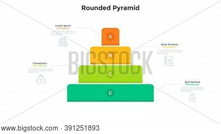 Pyramidal Chart With Four Colorful Layers. Concept Of 4 Levels Of Startup Company Growth And Progres