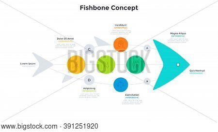 Fishbone Chart With Seven Connected Elements. Concept Of 7 Stages Of Fishery Business Development Pr