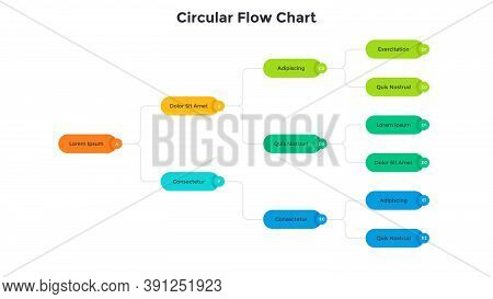 Flowchart Or Block Scheme With Colorful Elements Connected By Lines. Concept Of Business System Visu