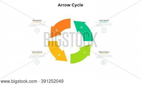 Cyclic Round Chart With 4 Colorful Arrows. Concept Of Four Stages Of Project Development Cycle. Mode