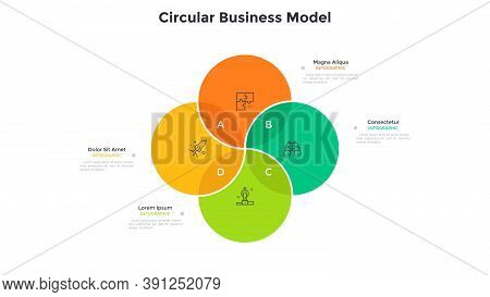 Venn Chart With Four Intersected Colorful Translucent Circular Elements. Concept Of 4 Options Of Sta