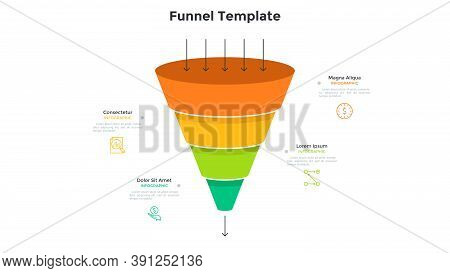 Funnel Diagram With Four Colorful Layers Or Levels. Concept Of 4 Steps Of Filtering Process. Simple