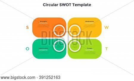 Swot Diagram With 4 Rectangular Elements. Concept Of Threats, Weaknesses, Strengths, Opportunities O