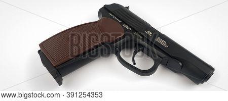 BERLIN, GERMANY -JAN 25 2016.  The Makarov pistol or PM is a Russian semi-automatic pistol.