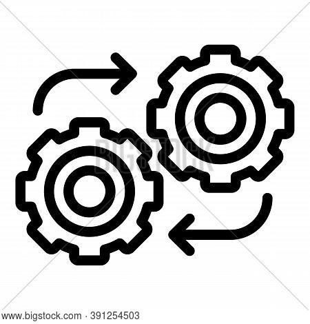 Adaptation Gear Wheel Icon. Outline Adaptation Gear Wheel Vector Icon For Web Design Isolated On Whi