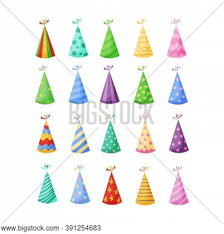 Birthday Party Hats Set Vector Illustration In A Cartoon Flat Style Isolated On White Background. Co