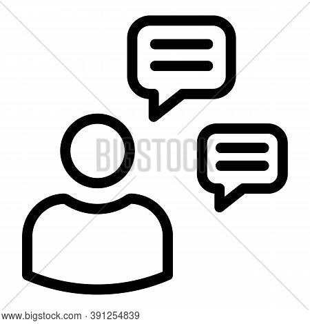 Computer Chat Request Icon. Outline Computer Chat Request Vector Icon For Web Design Isolated On Whi