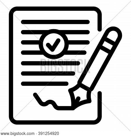 Request Signature Icon. Outline Request Signature Vector Icon For Web Design Isolated On White Backg