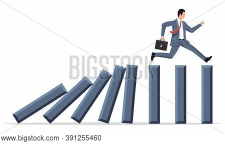 Businessman Running Away From Falling Domino. Domino Chain Reaction Effect In Business. Crisis Manag