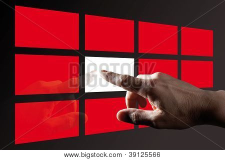 Finger Touching Red Digital Touch Screen with black background poster