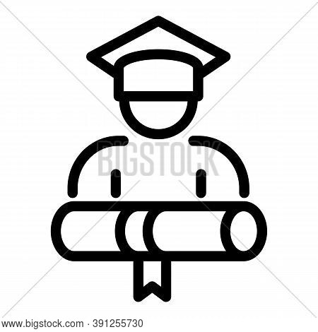 Final Exam Graduation Icon. Outline Final Exam Graduation Vector Icon For Web Design Isolated On Whi