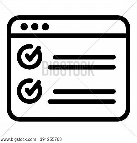 Online Final Exam Test Icon. Outline Online Final Exam Test Vector Icon For Web Design Isolated On W