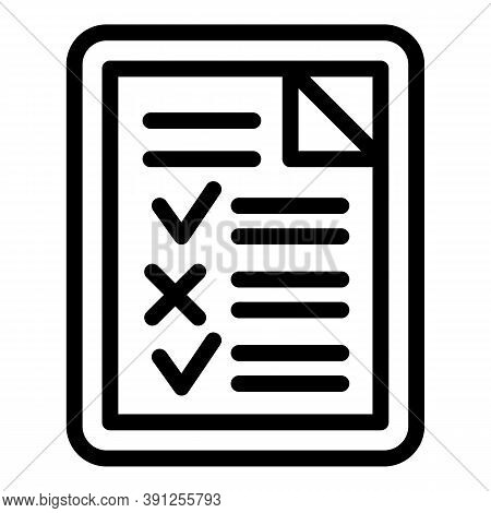 College Exam Test Icon. Outline College Exam Test Vector Icon For Web Design Isolated On White Backg
