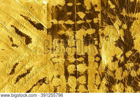 Crumpled Foil. Dirty Art Metal Background. Antique Watercolour Painted Craft Soaked Paper. Yellow Sh