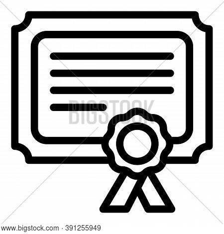 Graduation Diploma Icon. Outline Graduation Diploma Vector Icon For Web Design Isolated On White Bac