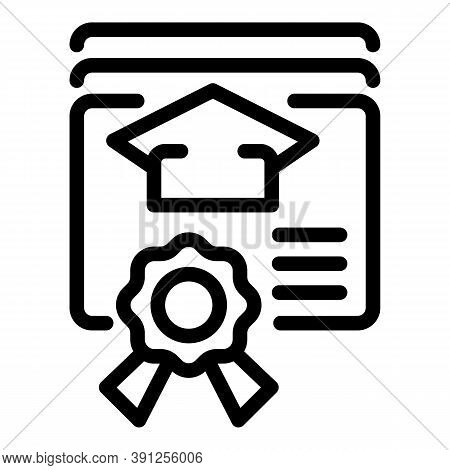 Online Graduation Diploma Icon. Outline Online Graduation Diploma Vector Icon For Web Design Isolate