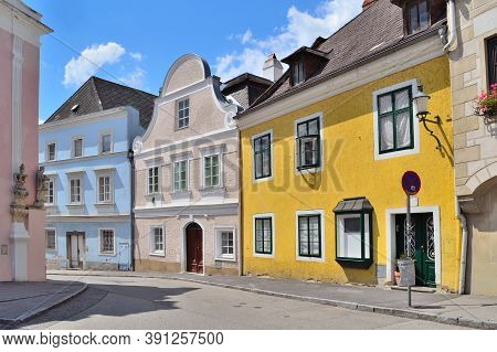 Austria. Narrow Cozy Street Of The City Of Krems With Old Houses