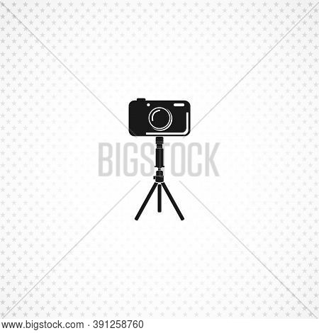 Camera On Tripod Isolated Solid Vector Icon
