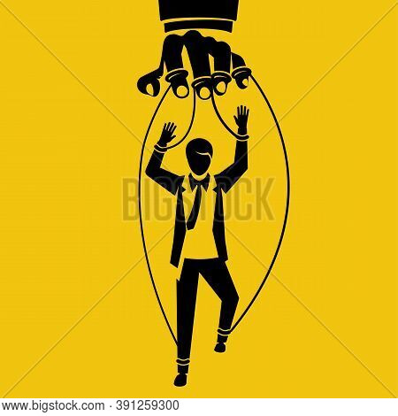 Manipulation Concept Black Icon. Worker On Ropes. Silhouette Abuse Of Power. Vector Illustration Fla