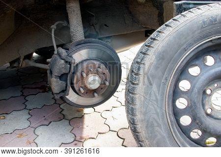 Brake Disc And Brake Calipers Of Vehicle. Car Brake Pad. Car Service. Automobile Braking System. Veh