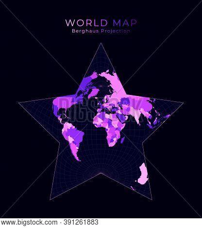 World Map. Berghaus Star Projection. Digital World Illustration. Bright Pink Neon Colors On Dark Bac