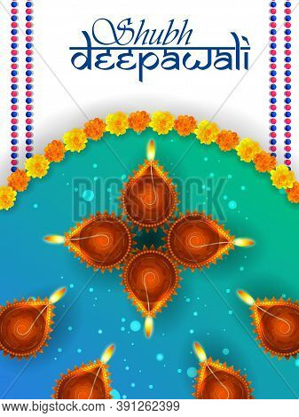 Vector Illustration Of Decorated Diya For Happy Diwali Holiday Hindu Festival Of India Background