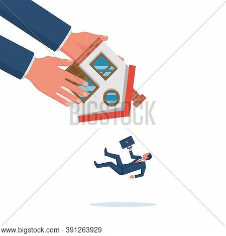 The Eviction Agent Shakes The House. Eviction Notice. Vector Illustration Flat Design. Isolated Back