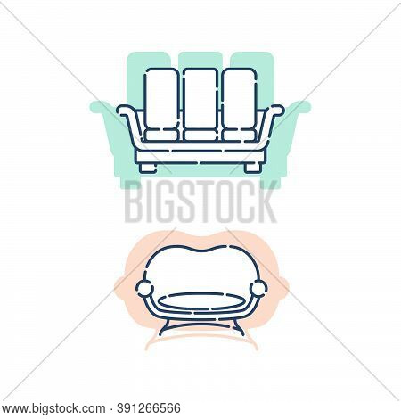 Two Comfortable Sofa With Pillows. Flat Illustration With Settee On Shape Background. Modern Stylish