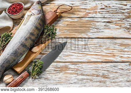 Fresh Zander, Walleye With Herbs. Raw Fish. White Background. Top View. Copy Space