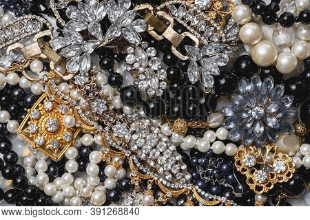 Beautiful Fashion Jewelry With Precious Stones, Pearls And Diamonds  For Women. Many Precious Shiny