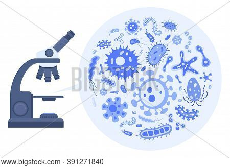 Microbiology Concept. Vector Collection Of Flat Bacteria Cell, Virus And Microbe Illustrations. Set