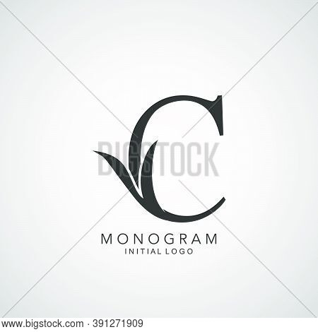 Monogram Initial Logo Letter C. Simple Vector Design Concept Abstract Nature Floral Leaf With Letter
