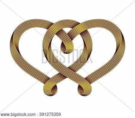 The Sign Of The Union Of Two Hearts Made Of Interwoven Golden Wire Bundles. Symbol Of Eternal Love.
