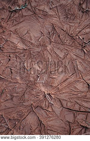 Clay Texture. Dried Clay. Red Clay. Clay Red Soil, Close-up