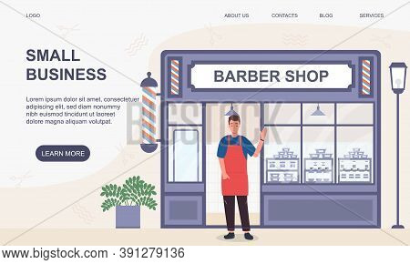 Small Business And Self-employment Concept With A Man Standing At The Entrance To His Barbershop. Fl