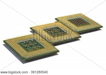 Closeup Of Computer Cpu Processors Isolated On White
