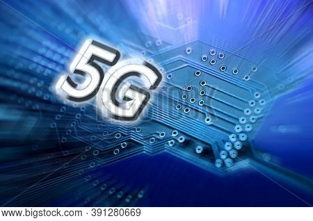 5g Word On Blue Circuit, Microcircuit. 5g Network Communication On Modern Circuits, High Speed Mobil